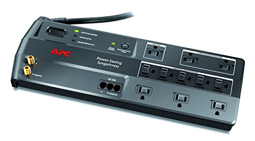 APC 11-Outlet Surge Protector 3400 Joules with Master Controlled Power Outlets and Telephone, DSL and Coaxial Protection, SurgeArrest Performance (P11GTV) (Best Surge Protector For Led Tv)