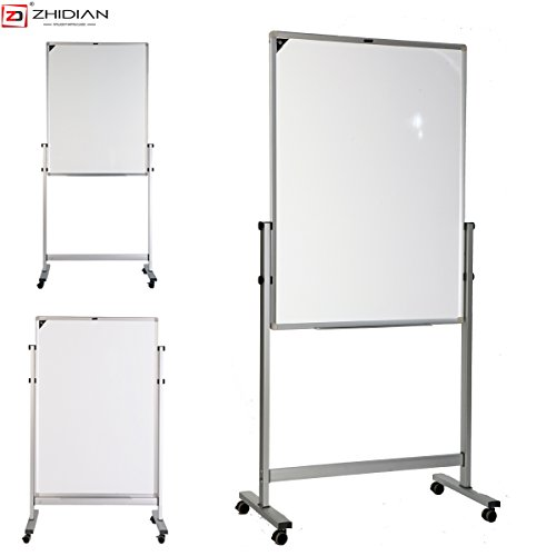 ZHIDIAN Slide Rail Height Adjustment Aluminum Alloy Magnetic Dry Erase Board Easel, Bulletin Board White Boards, Silver Frame (36Hx24W Inches, Erect type) by ZHIDIAN