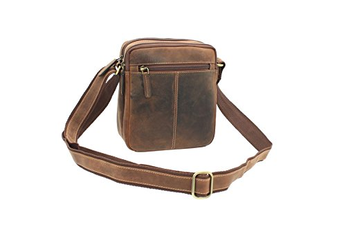 Visconti S8 Oil Leather Tan Messenger Travel Bag Compact Brown ZHgqZwT
