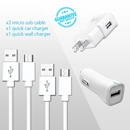 Galaxy S7, S7 Edge,S6,S6Edge,S6 Edge Plus Adaptive Fast Charger Bundle ( 2 Micro Usb Cable , Car Charger , Wall Charger ) - Edge Package