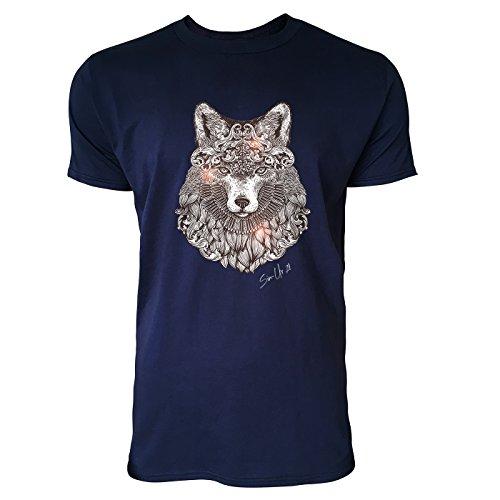 SINUS ART ® Fuchskopf im orientalischen Stil Herren T-Shirts in Navy Blau Fun Shirt mit tollen Aufdruck