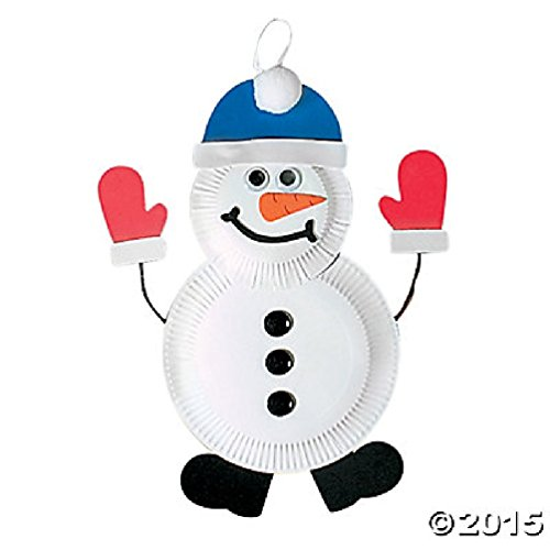 (Set of 12 Snowman Paper Plate Craft Kit Individually)