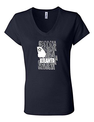 Atlanta GA 6005 Womens Premium V-Neck T-Shirt Humorous Tee Shirt Navy XXX-Large
