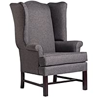 Source One A321-800002 Jitterbug Thomas Wing Upholstered Chair, Gray