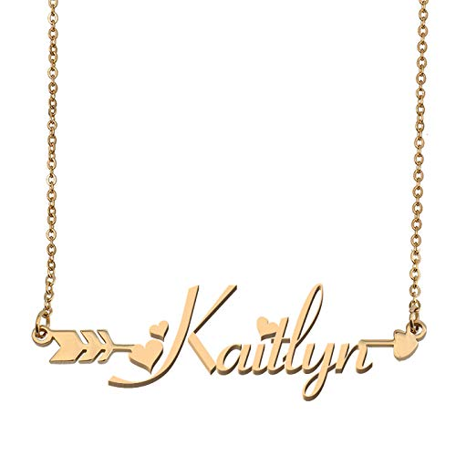 (Aoloshow Customized Custom Name Necklace Personalized - Custom Kaitlyn Initial Name Arrow Horizontal Monogrammed Necklace Gift for Womens)
