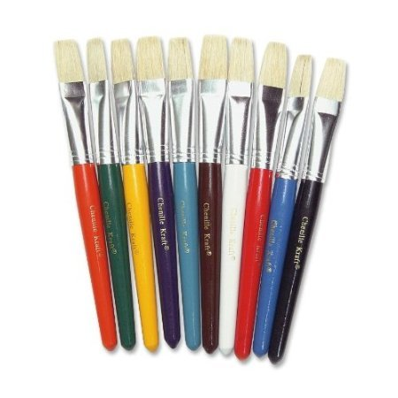 Creative-Arts-by-Charles-Leonard-Stubby-Flat-Paint-Brushes-Assorted-Colors-10Set-73290