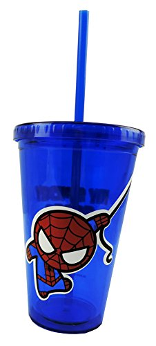 Marvel Spider Man Spidey Sense Blue Travel Cup w/ Straw