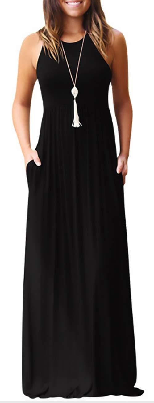 KORSIS Women's Summer Casual Loose Sleeveless Racerback Long Maxi Swing Dresses Pockets Black L