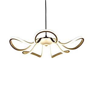 Modern Minimalist Style White Chandeliers, Creative Petal Design LED SMD Pendant Lamp, PMMA High Transmittance Lampshade, Living Room Dining Room Iron Ceiling Lamp (Diameter: 55cm)