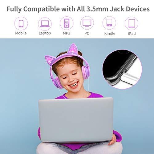 LOBKIN Kids Headphones,Cat Ear Wired Foldable Headphones for Kids Over-Ear/On-Ear for Boys Girls, Adjustable 85dB Volume Control, Childrens Game Headphones for School/Tablet (Pink)