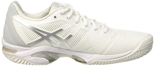 White Zapatillas Gel Asics 3 Blanco Mujer Clay de Speed Solution Tenis Silver para XxqFAP
