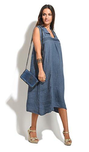 100 % LIN Robe Femme Collection Printemps Et Bleu