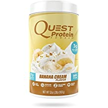 Quest Nutrition Protein Powder, Banana Cream, 21g Protein, 3g Net Carbs, 84% P/Cals, 2lb Tub, High Protein, Low Carb, Gluten Free, Soy Free, Packaging May Vary