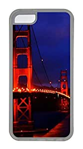 iPhone 5C Case, Customized Protective Soft TPU Clear Case for iphone 5C - Bridge In Night Cover