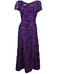 Petite Long A-Line Rosette Dress