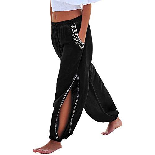 Women Wide Leg Side Split Pants Elastic Waist Drawstring Harem Trouser L ()