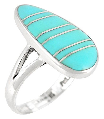 Sterling Silver Ring Genuine Turquoise & Gemstones (SELECT COLOR) (Turquoise, ()