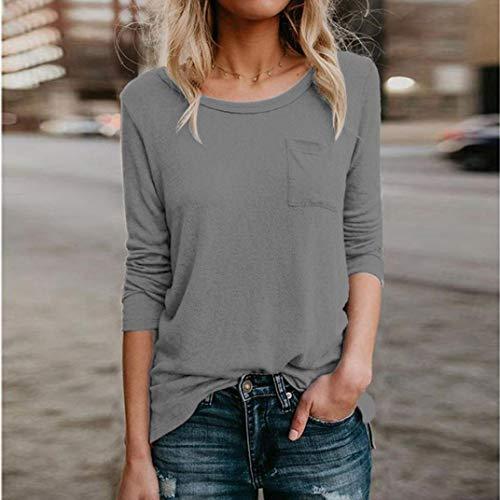 Gris Diario Aimee7 Tops Mango Mujer Pocket Casual Top Soild Blusa Camiseta Largo qqPXr
