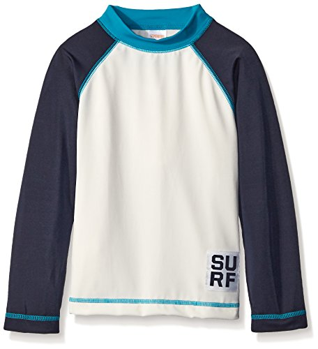 Gymboree Little Boys' White Raglan Surf Rashguard, Jet Ivory, 6