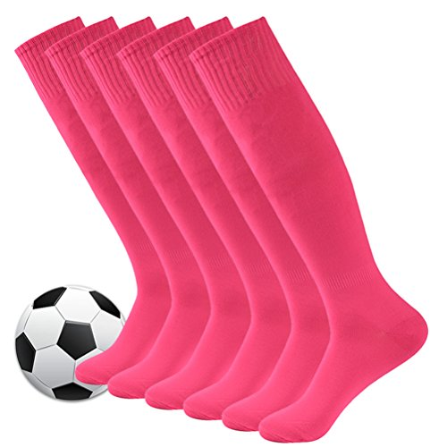 Baseball Socks,Fasoar Mens Womens Youth Over the Calf Rugby Boots Soccer Socks 6 Pairs Rose Pink