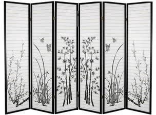 SQUARE FURNITURE Panel Bamboo Floral Room Divider