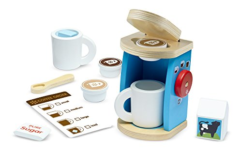 Melissa & Doug 11-Piece Brew and Serve Wooden Coffee Maker Set - Play Kitchen - Mall Crystal Hours