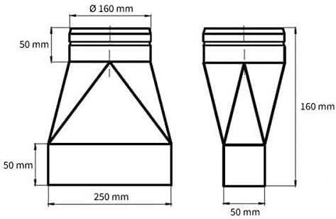 150 x 50 mm Flachkanal /Übergangsst/ück symmetrisch auf /Ø 100 mm