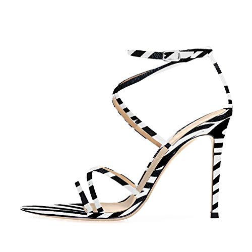 (Onlymaker Women's Sexy Ankle Strap Gladiator Stilettos Pointed Open Toe High Heels Sandals Zebra Print Size 9)