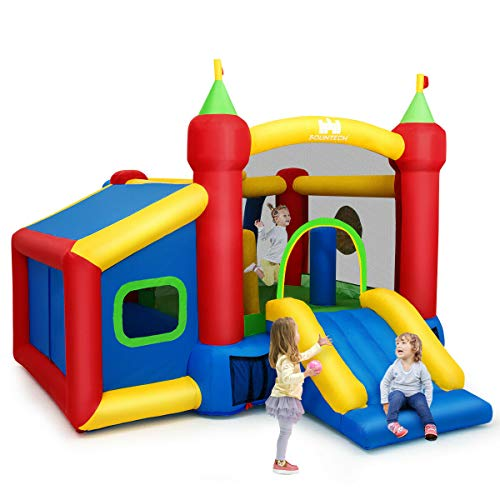Heize Best Price Colorful Inflatable Bounce House Kids Slide Jumping Castle with Ball Pit and Dart Board with Hand Pump(U.S. Stock)