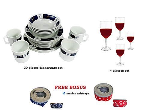 Five Oceans Five Ocenas Melamine Dinnerware Set (20 PCS) plus Ashtray set FO-3822-C1