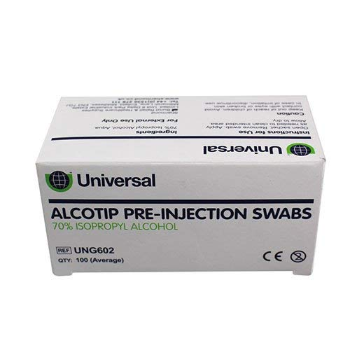 Universal UNG603 Alcotip Pre-Injection Swabs 30mmx60mm 45gsm 100 Wipes /Box (Pack of 100)