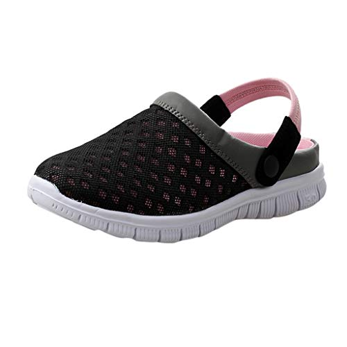 (Men's Women's Garden Clogs Mesh Slippers Summer Breathable Lightweight Quick Drying Walking Shoes Indoor Outdoor Pink)