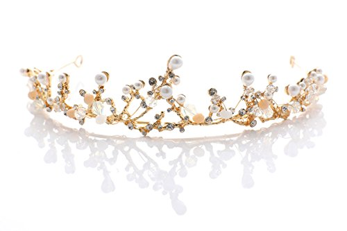 LittleB Baroque Princess Wedding Tiara Pearl Mermaid Gold Crown for Women