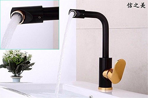 Ling Kitchen Sink Faucets Basin Mixer Faucet Tap Bathroom Faucet Tap Aluminum Hot and Cold Gold Swivel Bathroom Spout Water Pull Out by Ling (Image #2)
