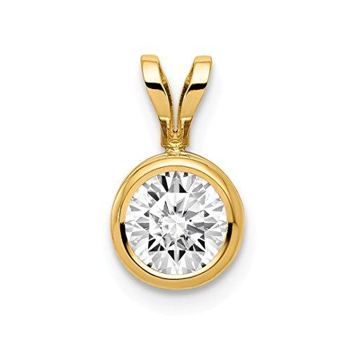14k Yellow Gold 6mm Cubic Zirconia Bezel Pendant Charm Necklace Gemstone Fine Jewelry For Women Gift Set