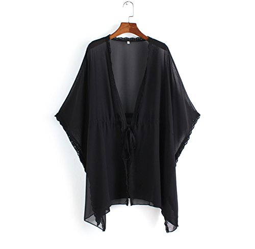 NINEWE Lace Chiffon Swimsuit Kimono Cardigan Bikini Cover up Black S