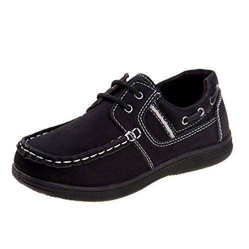 (Josmo Boys Boat Shoes, Black, Size 2 M US Little)