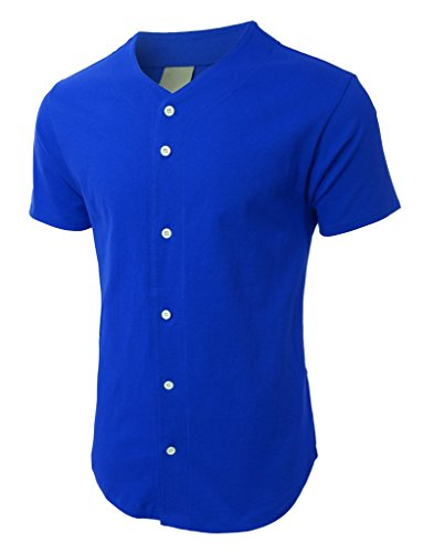 Blue Button Down Jersey (Mens Baseball Button Down Jersey Hipster Hip Hop T Shirts 1UPA01 (X-Large, Royal Blue))