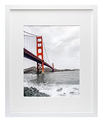 Frametory, Set of 2, 16x20 White Picture Frame - Made to Display Pictures 11x14 Photo with Ivory Color Mat - Wide Molding - Preinstalled Wall Mounting Hardware (16x20, White)
