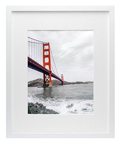 Frametory, 16x20 White Picture Frame - Made to Display Pictures 11x14 Photo with Ivory Color Mat - Wide Molding - Preinstalled Wall Mounting Hardware (16x20, ()
