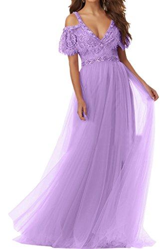 Damen Partykleid Kurz Aermel Tuell Promkleid Abendkleid Ausschnitt Hochwertig Festkleid Ivydressing V Lavendel HgwRqOdxH
