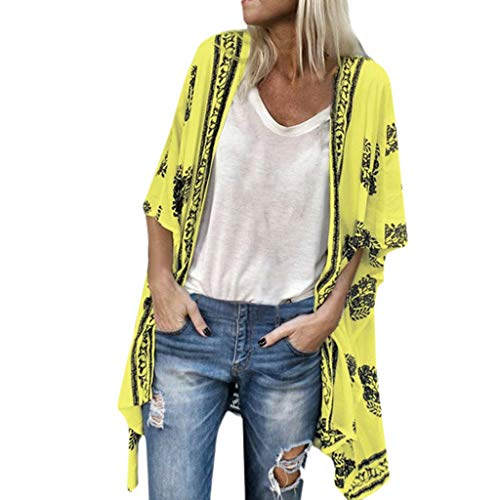 (Ladies Bobo Cardigan,Plus Size Women Casual Print Half Sleeve Loose Tops Summer Beach Sunscreen T-Shirt Blouse Yellow)