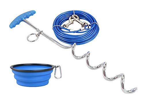 - Dog Tie Out Cable and Stake 33 ft Outdoor, The Complete Tether System for Small to Medium Pets, Pet Lead Great for Yard Camping and Outing (16 Ft, Blue)