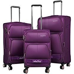 Windtook 3 Piece Luggage Sets Expandable Spinner Suitcase Bag for Travel and Business-8050 (Purple-8050-YKK+TSA)