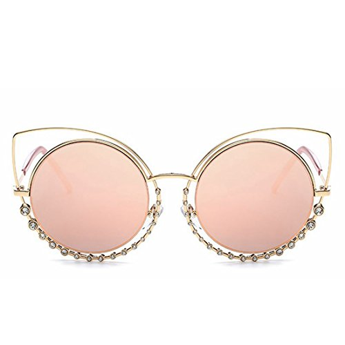 Gafas Frame Color Lens con Eyes Sol para Pink Yiyepoetry Frame de Gafas metálicas Clear Cat'S Mujer Gold Diamond Lens Sol de Pink HOTTwdqS