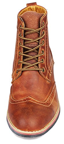Kunsto Men's Leather Lace up Dress Boot US Size 11.5 Brown