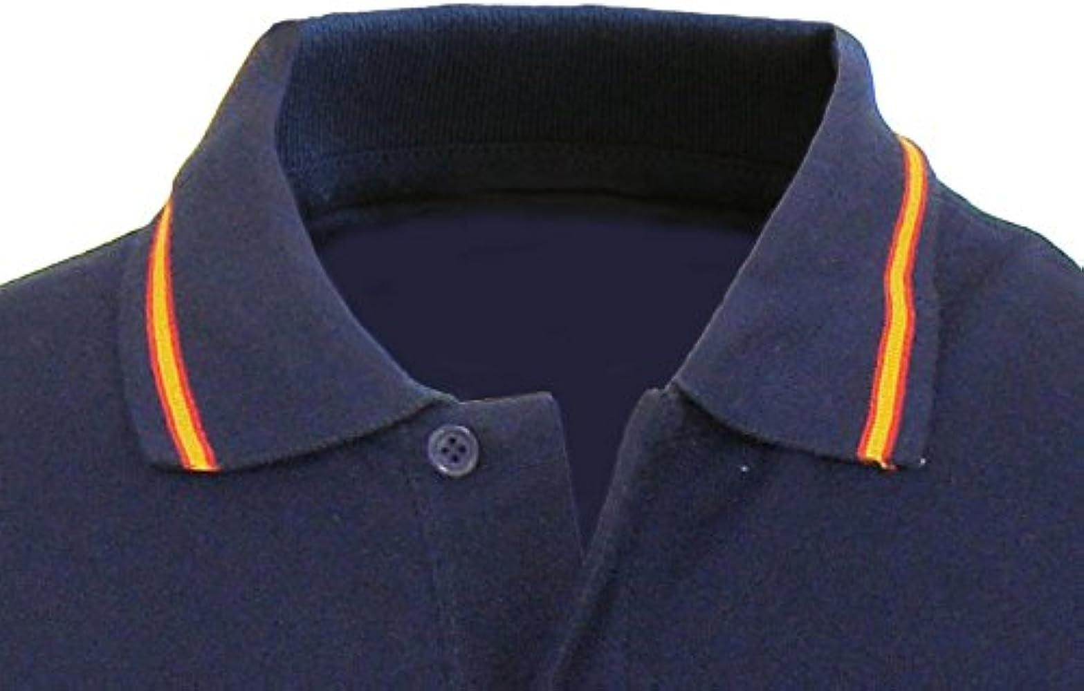 Pi2010 – Polo Hombre Marino, Bordado Guardia Real en Pecho, Bandera España en Cuello y Mangas, 100% algodón, Talla S: Amazon.es: Ropa y accesorios