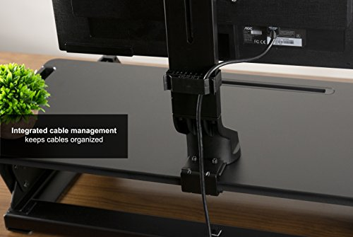 VIVO Black Adjustable Single Monitor Mount for Sit-Stand Workstation Desk Converter | Monitor Arm Fits One (1) Screen up to 32'' (STAND-V001U) by VIVO (Image #6)