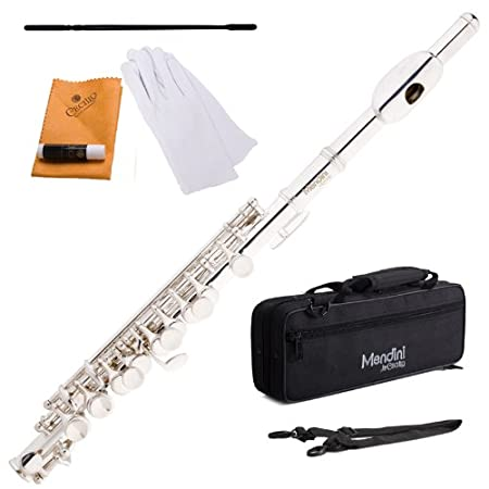Mendini Mpo S Silver Plated Key Of C Piccolo With Case, Joint Grease, Cleaning Cloth And Rod, And Gloves by Mendini By Cecilio