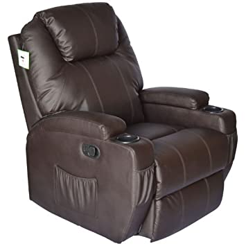luxury leather recliner chairs. homcom luxury massage sofa leather adjustable recliner chair armchair (brown) chairs t
